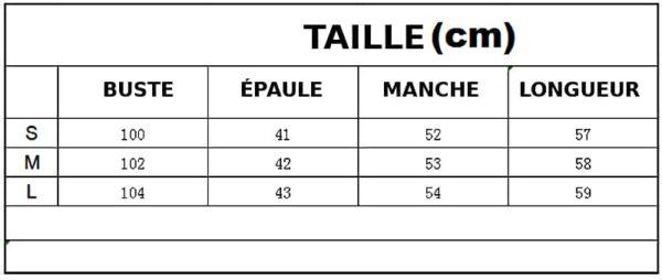 TAILLE DU PULL LICORNE ROSE - BLANC