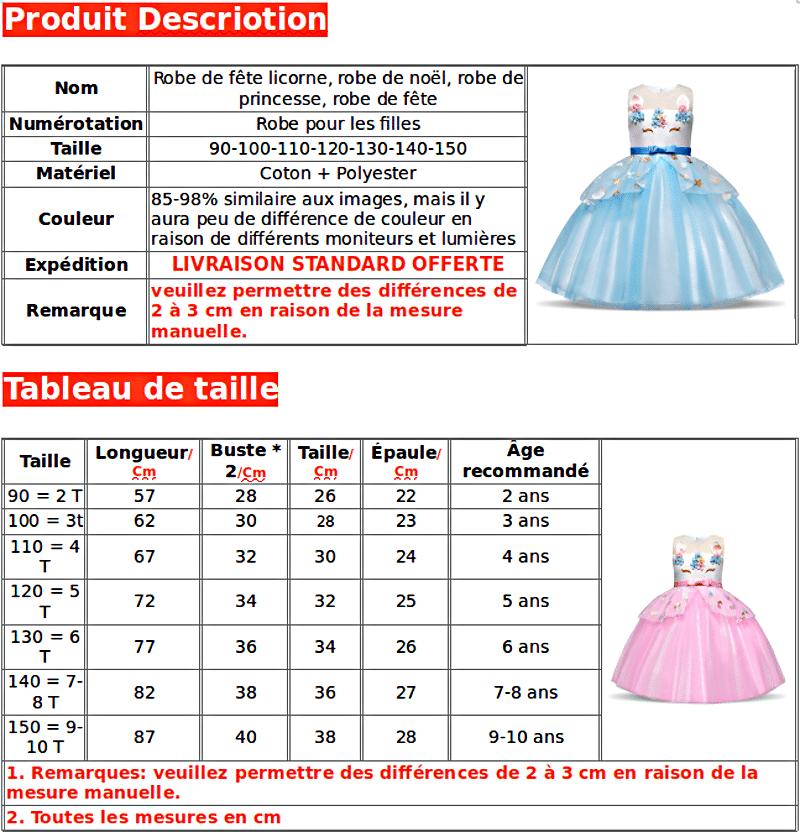 TAILLE ROBES LICORNE ANNIVERSAIRE PRINCESSE ROSE,BLEU,VIOLET ÉTOILÉ