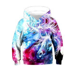 UN SWEAT DEUX LICORNE MULTICOLORE 3D VU DE FACE