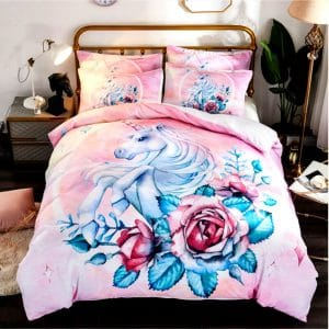 HOUSSE COUETTE LICORNE FLEURIE N1