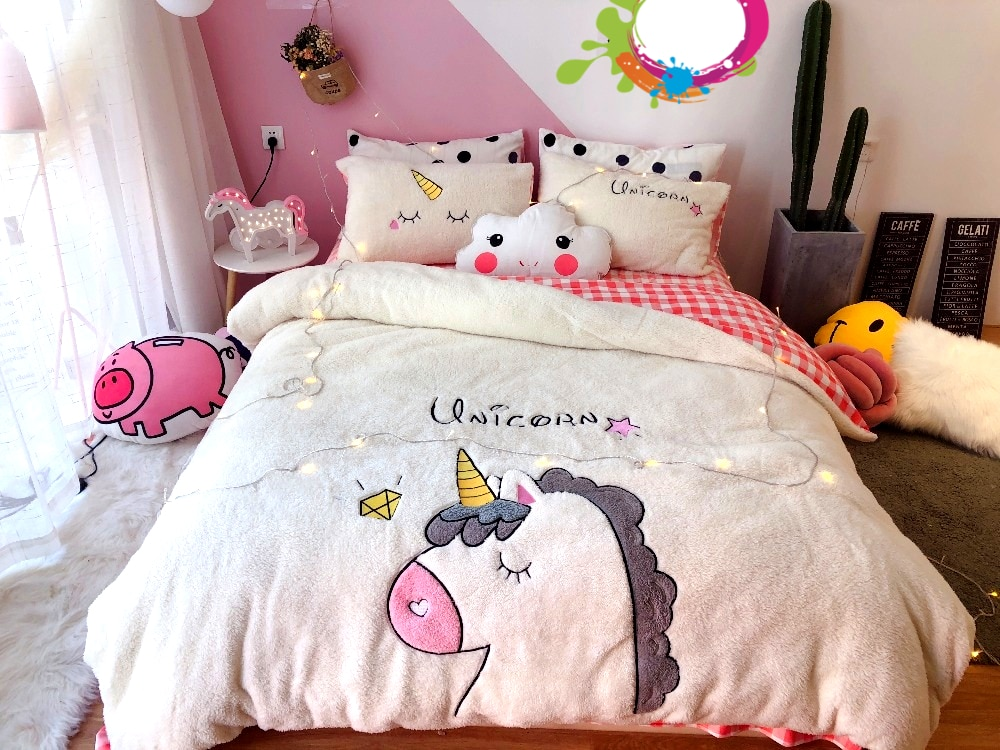 HOUSSE COUETTE LICORNE BRODÉE BLANCHE N-1