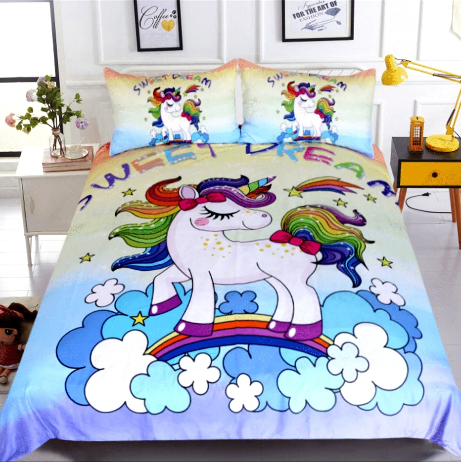 HOUSSE COUETTE LICORNE ROSE TOYS N3