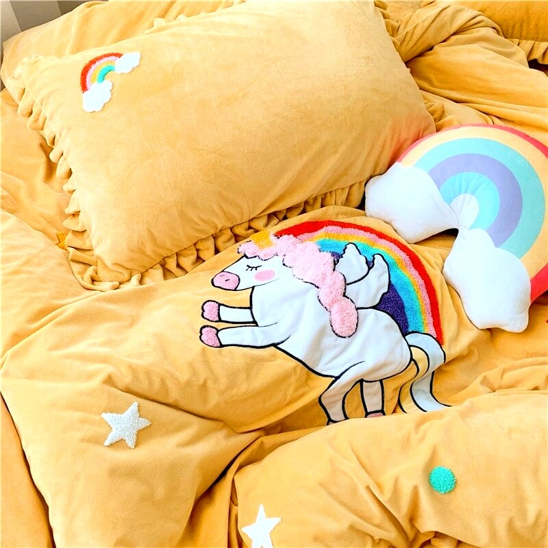 HOUSSE COUETTE LICORNE PETITE FILLE N3 TAIE D'OREILLER