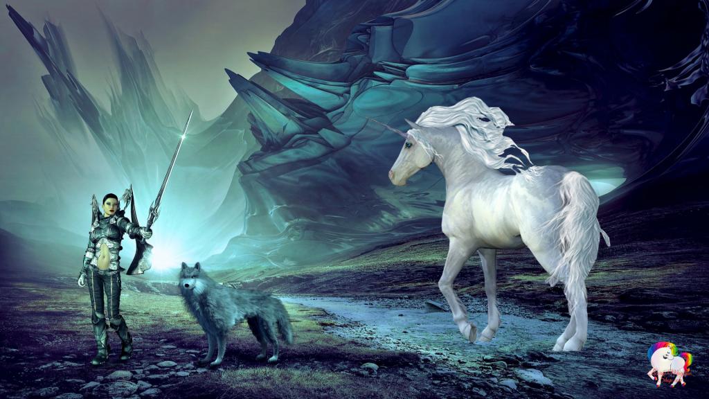 L'ange combattant pour le bien avec son loup gris et sa licorne blanche