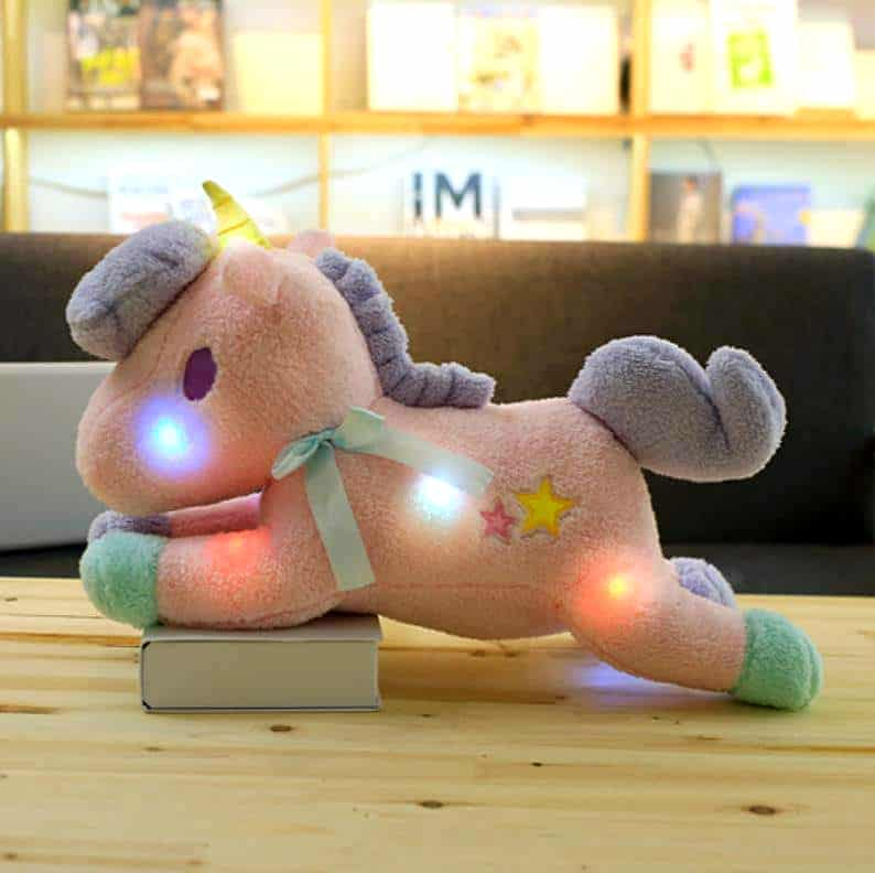 PELUCHE LICORNE ARC-EN-CIEL LED ROSE