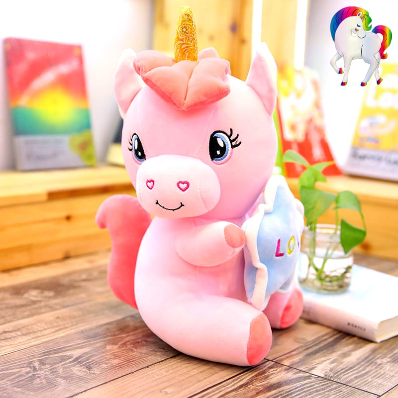 PELUCHE LICORNE GROS YEUX LOVE ROSE