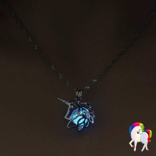 Collier pendentif licorne lumineux bleu-foncé