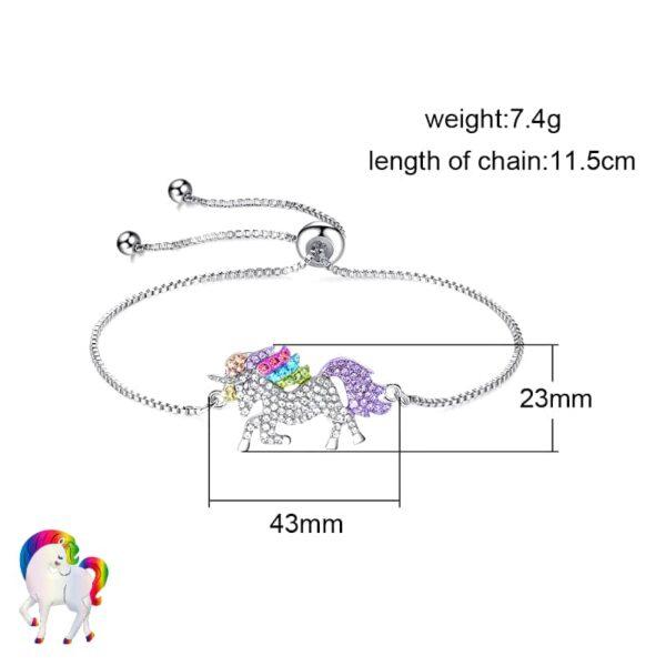 Ensemble de Bijoux Licorne arc-en-ciel Bracelet taille