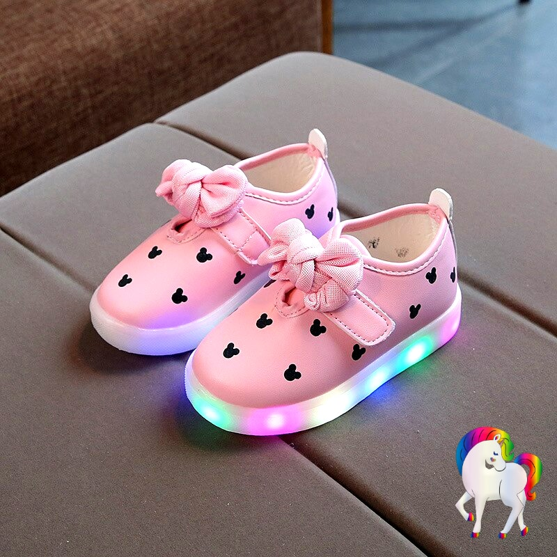 Baskets lumineuses filles licornes rose