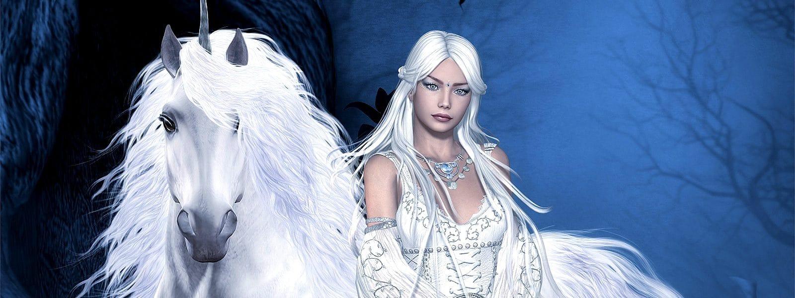 Licorne blanche avec une jeune fille vierge